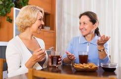 Пожилое женское имеющ перерыв на чашку кофе стоковые фотографии rf