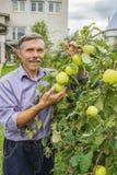Пожилой счастливый человек в саде на августе стоковые изображения rf