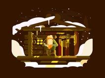 Пожилой forester человека иллюстрация штока