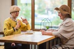 Пожилые дамы на таблице кафа Стоковое Фото