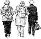 Пожилые женщины на прогулке Стоковое фото RF