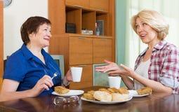 Пожилые женщины на таблице с чаем Стоковая Фотография RF