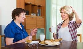 Пожилые женщины на таблице с чаем Стоковые Фото