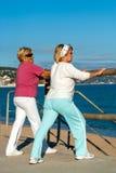 Пожилые женщины протягивая перед jogging. Стоковое Изображение RF