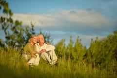 Пожилые пары на природе на лете Стоковое Изображение RF