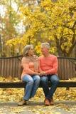 Пожилые пары сидя в природе осени Стоковая Фотография