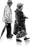 Пожилые супруги на прогулке Стоковая Фотография RF