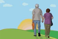 пожилые люди пар совместно гуляя Стоковое Фото