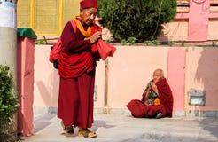 2 пожилых монаха приветствуют один другого с смычками Стоковая Фотография