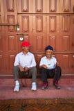 2 пожилых люд виска Boudhanath, Катманду, Nepall Стоковые Фото