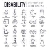 Позаботьте люди с неработающей тонкой линией концепцией иллюстрации Плоские значки дня инвалидности мира плана установили иллюстр Стоковые Фотографии RF