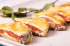 Позавтракайте от испеченных баклажанов с томатом под сыром и Стоковые Изображения RF