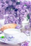 Позавтракайте с молоком, хлебом с сыром гауда Стоковое фото RF