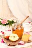 Позавтракайте с очень вкусным сладостным медом, сыром и грушей Стоковое Фото
