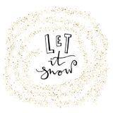 Позволенный ему идти снег карточка с снежинками яркого блеска золота Современная литерность invitation new year Использованный дл Стоковые Фотографии RF