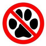 позволил никаким любимчикам знаку След ноги лапки черного кота или собаки в красном цвете пересек символ круга иллюстрация вектора