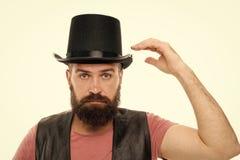 Позвольте мне показать некоторое волшебство Шляпа цилиндра хипстера человека бородатая Концепция представления Illusionist Джины  стоковая фотография rf