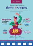 Позвольте нам упасть влюбленн в большой шаблон печатной рекламы ночи dandiya иллюстрация вектора