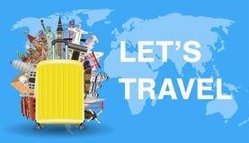Позвольте ` s путешествовать с сумкой багажа и ориентир ориентиром мира Стоковая Фотография RF