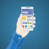 Позвоните по телефону в иллюстрации вектора руки в плоском стиле Рука человека держа концепцию телефона Стоковые Фото