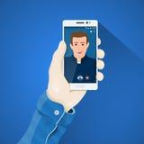Позвоните по телефону в иллюстрации вектора руки в плоском стиле Укомплектовывает личным составом руку держа концепцию телефона Стоковые Фото