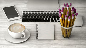 Позвоните по телефону на иллюстрации таблицы, кофе и тетради 3d Стоковое Изображение RF