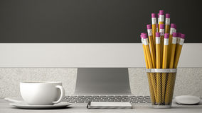 Позвоните по телефону на иллюстрации таблицы, кофе и тетради 3d стоковые фото