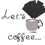 Позвольте кофейной чашке кофе ` s винтажной стилизованной в векторе иллюстрация штока
