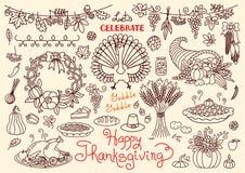 Позвольте нам отпраздновать счастливые установленные doodles благодарения Стоковая Фотография RF