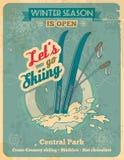 Позвольте нам пойти катаясь на лыжах ретро плакат Стоковые Изображения