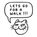 Позвольте ` s пойти для прогулки! Голова кота шаржа также вектор иллюстрации притяжки corel Стоковые Изображения RF
