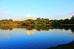 Поздний вечер на озере стоковое фото rf