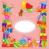 Поздравительая открытка ко дню рождения младенца с плюшевым медвежонком Стоковые Изображения RF