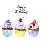 Поздравительая открытка ко дню рождения пирожных акварели 3 руки вычерченная иллюстрация вектора