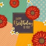Поздравительая открытка ко дню рождения при рамка украшенная с цветками и винтажной ретро предпосылкой Стоковые Изображения