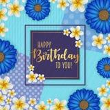 Поздравительая открытка ко дню рождения при рамка украшенная с цветками и винтажной ретро предпосылкой Стоковое фото RF