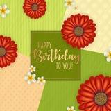 Поздравительая открытка ко дню рождения при рамка украшенная с цветками и винтажной ретро предпосылкой Стоковые Фотографии RF