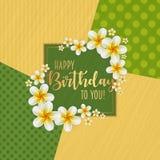 Поздравительая открытка ко дню рождения при рамка украшенная с цветками и винтажной ретро предпосылкой Стоковое Изображение RF