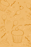 поздравительая открытка ко дню рождения схематичная иллюстрация вектора