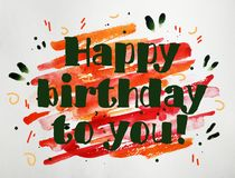 Поздравительая открытка ко дню рождения с днем рождений акварели для давать стоковое изображение rf