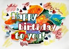 Поздравительая открытка ко дню рождения с днем рождений акварели для давать стоковые изображения