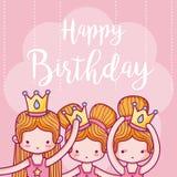 Поздравительая открытка ко дню рождения с днем рождений с артистами балета девушек иллюстрация вектора