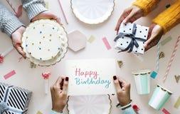 Поздравительая открытка ко дню рождения с днем рождений в вечеринке по случаю дня рождения Стоковое Изображение
