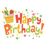 Поздравительая открытка ко дню рождения с днем рождений с милым мороженым Стоковое Фото