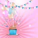 Поздравительая открытка ко дню рождения с пирожным Стоковое фото RF