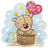 Поздравительая открытка ко дню рождения с плюшевым мишкой и воздушным шаром иллюстрация штока