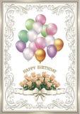 Поздравительая открытка ко дню рождения с цветки и воздушные шары Стоковые Фото
