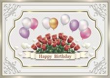 Поздравительая открытка ко дню рождения с цветки и воздушные шары Стоковая Фотография RF