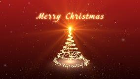Поздравительная видеокарта рождества Создайте фантастическую рождественскую елку Снег и снежинки падают Зима, рождество, новый Ye сток-видео