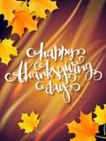 Поздравительная открытка благодарения вектора с ярлыком литерности руки - счастливым официальный праздник в США в память первых к бесплатная иллюстрация